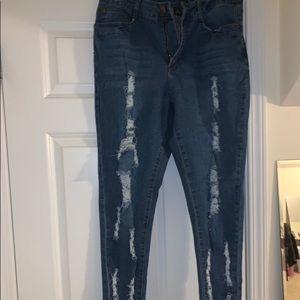 Denim - Distressed Denim High waisted jeans